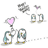 Valentim dos pinguins Foto de Stock