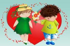 Valentim feliz \ 'dia de s Cartão do amor O menino dá à menina um ramalhete no fundo do coração Declaração do amor, proposta a ca imagens de stock