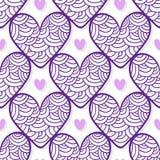 Valentim que envolvem o teste padrão com corações roxos do ornamento Textura do vetor para o projeto de empacotamento Imagem de Stock Royalty Free