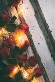 Valentim: Rosas vermelhas e ampolas no fundo de madeira rústico Foto de Stock Royalty Free