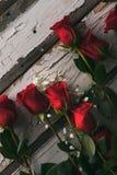 Valentim: Rosas vermelhas no fundo pintado resistido Fotografia de Stock