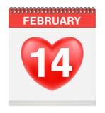 Valentim ` s dia o 14 de fevereiro no vetor do calendário Imagem de Stock