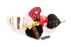 valentin 心脏,刺绣,珠饰细工 查出在白色 免版税库存照片