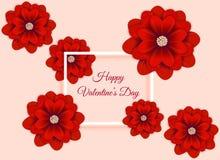 Valentin abstrakt bakgrund för dag med blommapapperskonst vektor illustrationer