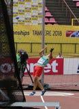 VALENTIN ANDREEV från Bulgarien på händelse för hammarekast på mästerskapet Tammerfors, Finland 11th Juli, 2018 för IAAF-värld U2 Royaltyfri Bild
