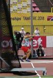 VALENTIN ANDREEV från Bulgarien på händelse för hammarekast på mästerskapet Tammerfors, Finland 11th Juli, 2018 för IAAF-värld U2 Royaltyfri Foto