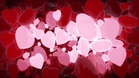 Valentin bakgrund för dagabstrakt begrepp som flyger hjärtor lager videofilmer