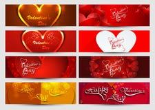 Valentin bakgrund för samling för dagtitelrad färgrik  Arkivfoto