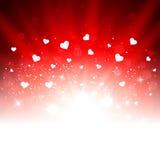 Valentin bakgrund för vektor för dag romantisk med hjärtor Arkivbilder