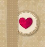 Valentin bakgrund för grunge för elegans för dag retro med rosa hjärta Fotografering för Bildbyråer