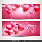Valentin baner för dagrosa färger Royaltyfri Foto