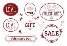 Valentin baner för dagtappning, etiketter Royaltyfria Foton
