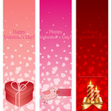 Valentin baner för vertical för dagpink. Fotografering för Bildbyråer