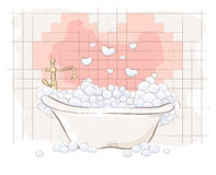 Valentin card -- Bath for Lovers Stock Image