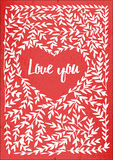 Valentin card with lettering i love you. Stock Photos