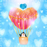 Valentin card med gullig tecknad filmpenguine Royaltyfri Foto