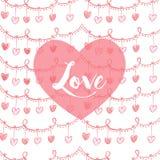 Valentin card med hjärta- och lovwtext i rosa färger Royaltyfri Fotografi