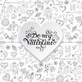 Valentin card med hjärtor, fåglar, blommor stock illustrationer
