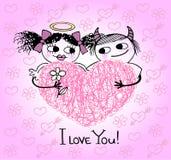Valentin card med hjärtor och kopplar ihop förälskat Arkivfoton