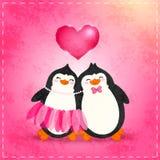 Valentin card med tecknad filmpenguine Royaltyfria Foton