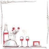 Valentin Card Vectorillustratie met wijn en voedsel voor minnaars royalty-vrije illustratie