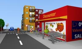 Valentin City: Vista della città con i discount, vie, case a Illustrazione Vettoriale