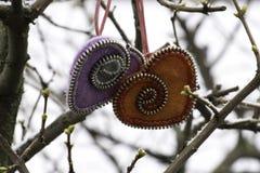 Valentin dag, handgjorda produkter från filt fotografering för bildbyråer