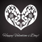 Valentin dag. Hjärtaprydnad på abstrakt tappningbakgrund. Royaltyfri Bild