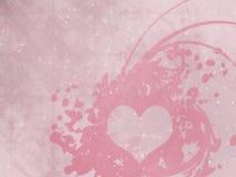 Valentin dag, illustration, rosa färg, hjärta, beige bakgrund, vit, ljus, stjärnor arkivfoto