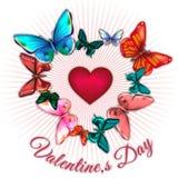 Valentin dag med hjärta som omges av färgrika fjärilar Arkivbild