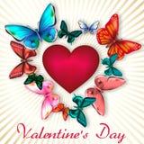 Valentin dag med hjärta som omges av färgrika fjärilar Royaltyfri Fotografi