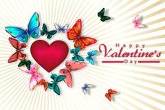 Valentin dag med hjärta som omges av färgrika fjärilar Arkivbilder