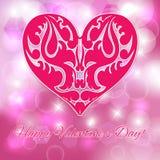 Valentin dag. Rosa hjärta. Royaltyfria Foton