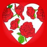 Valentin dag. Rosor och hjärta. Vektorillustration. EPS 10 Royaltyfri Bild