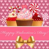 Valentin dagbakelse och sötsaker. Arkivbild
