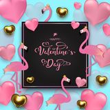 Valentin dagbakgrund, guld och rosa hjärtor, flamingo på b fotografering för bildbyråer