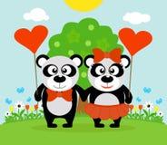 Valentin dagbakgrund med pandor royaltyfri illustrationer