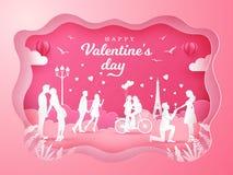 Valentin dagbakgrund med romantiska par som är förälskade på rosa bakgrund vektor illustrationer