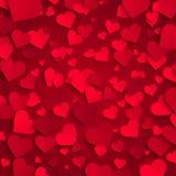 Valentin dagbakgrund, röda pappers- hjärtor på röd bakgrund Arkivbilder