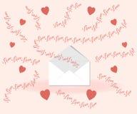 Valentin dagbegrepp: att märka för förälskelse flyger ut ur kuvertet på en rosa bakgrund som omges av original- hjärtor i prickar stock illustrationer