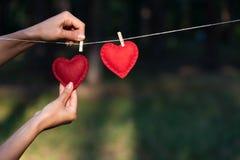 Valentin dagbegrepp med två röda hjärtor royaltyfri foto