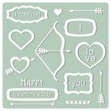 Valentin dagbeståndsdelar. Vektorillustration stock illustrationer
