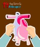 Valentin daghälsning Februari 14th royaltyfri illustrationer