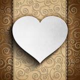 Valentin dagkort - hjärta på mönstrad bakgrund stock illustrationer