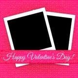 Valentin dagkort med fotoramar Arkivbild