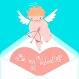 Valentin dagkort med gulliga kupidon och hjärtor Arkivbild