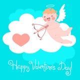 Valentin dagkort med gulliga kupidon och hjärtor Royaltyfria Bilder