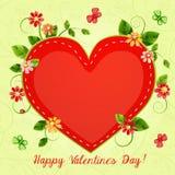 Valentin dagkort med härliga blommor Arkivfoton