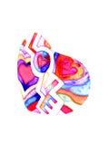 Valentin dagkort med hjärta- och ordförälskelse Royaltyfri Fotografi