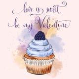 Valentin dagkort med muffin royaltyfri illustrationer